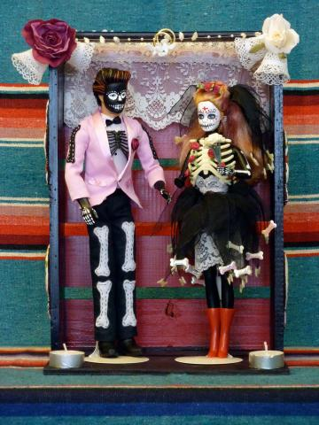 altered barbie and ken day of the dead bride and groom